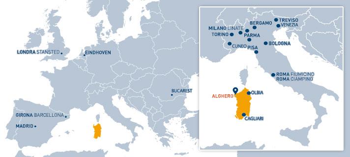 Principali collegamenti aerei su Alghero